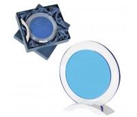 """Стела наградная """"Round"""" в подарочной упаковке Цвет: прозрачный, синий"""