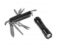 Набор: нож многофункциональный (13 функций) и фонарь в подарочной упаковке Цвет: черный