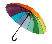 """Зонт-трость  """"Радуга"""", пластиковая ручка, полуавтомат Цвет: Красный"""