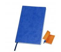"""Бизнес-блокнот """"Funky"""", 130*210 мм, синий, оранжевый форзац, мягкая обложка, блок-линейка Цвет: Синий"""