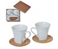 """Набор  """"Натали"""": две чайные пары в подарочной упаковке Цвет: коричневый, белый"""