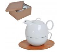 """Набор  """"Мила"""": чайник и чайная пара в подарочной упаковке Цвет: коричневый, белый"""