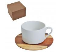 """Чайная пара """"Helga"""" в подарочной упаковке Цвет: коричневый, белый"""
