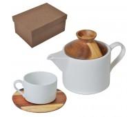 """Набор """"Andrew"""":чайная пара и чайник в подарочной упаковке Цвет: коричневый, белый"""