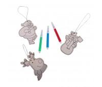 Новогодний набор для раскрашивания X`MAS COLORS: украшения на елку (3шт) и фломастеры (3шт)  Цвет: бежевый