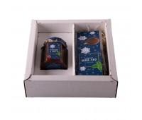 """Набор  """"Малина-мята"""", варенье малиновое и иван-чай с мятой в подарочной упаковке Цвет: белый, синий"""