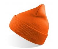Шапка вязаная двойная WIND с отворотом Цвет: Оранжевый