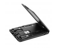 Зарядка беспроводная QIT компактная, дорожная, 5W, с набором аксессуаров: провод Micro USB, переходники Lighting, Type C, извлекатель SIM карты,  слот для хранения SIM карты. Цвет: черный