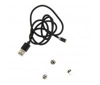 Провод для зарядки SNAP со сменными разъемами на магните Micro USB/Lighting/Type C Цвет: Черный
