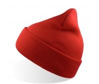 Шапка вязаная  двойная Wind с отворотом Цвет: Красный