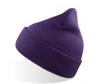 Шапка вязаная  двойная Wind с отворотом Цвет: Фиолетовый