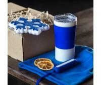 Набор ACTIONLIFE: термокружка, шапка, украшение, зарядное устройство, коробка, синий Цвет: Синий