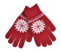 """Перчатки для сенсорных экранов  """"Снежинка"""" Цвет: Красный"""