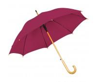 Зонт-трость с деревянной ручкой, полуавтомат Цвет: Бордовый