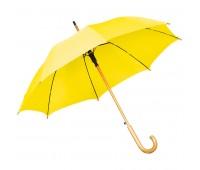 Зонт-трость с деревянной ручкой, полуавтомат Цвет: Желтый