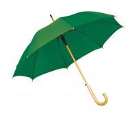 Зонт-трость с деревянной ручкой, полуавтомат Цвет: Зеленый