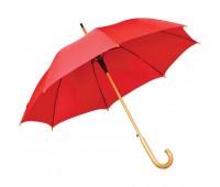 Зонт-трость с деревянной ручкой, полуавтомат Цвет: Красный
