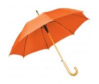 Зонт-трость с деревянной ручкой, полуавтомат Цвет: Оранжевый