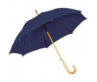 Зонт-трость с деревянной ручкой, полуавтомат Цвет: Синий
