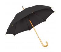 Зонт-трость с деревянной ручкой, полуавтомат Цвет: Черный