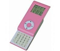 Калькулятор раздвижной с календарем и часами Цвет: Розовый