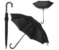 Зонт-трость ANTI WIND, пластиковая ручка, полуавтомат Цвет: Черный