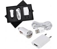"""Набор """"USB 3 в 1"""": зарядное устройство от сети,от автомобильного прикуривателя и провод-адаптер для iPhone и iPad Цвет: белый"""