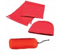 Флисовый набор WINTER шапка и шарф в чехле Цвет: Красный