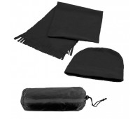 Флисовый набор WINTER шапка и шарф в чехле Цвет: Черный