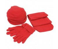 """Флисовый набор """"Метель"""" шапка, шарф, перчатки Цвет: Красный"""