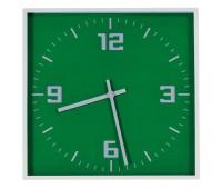 """Часы настенные """"КВАДРАТ""""; зеленый, 30*30 см; пластик; без элементов питания Цвет: Зеленый"""