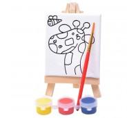 """Набор для раскраски """"Жираф"""":холст,мольберт,кисть, краски 3шт Цвет: белый"""
