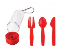 """Набор """"Pocket"""":ложка,вилка,нож в футляре с карабином Цвет: Красный"""
