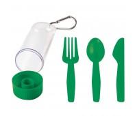 "Набор ""Pocket"":ложка,вилка,нож в футляре с карабином Цвет: Зеленый"