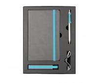 Набор  FANCY:универсальное зарядное устройство(2200мАh), блокнот и ручка в подарочной коробке,голубо Цвет: Голубой
