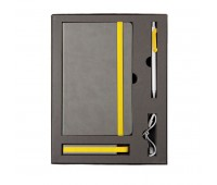 Набор  FANCY: универсальное зарядное устройство(2200мAh), блокнот и ручка в подарочной коробке Цвет: Желтый