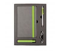 Набор  FANCY: универсальное зарядное устройство(2200мAh), блокнот и ручка в подарочной коробке Цвет: Зеленый