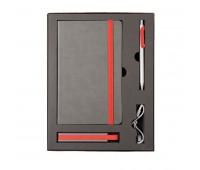 Набор  FANCY: универсальное зарядное устройство(2200мAh), блокнот и ручка в подарочной коробке Цвет: Красный