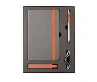 Набор  FANCY: универсальное зарядное устройство(2200мAh), блокнот и ручка в подарочной коробке Цвет: Оранжевый