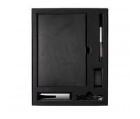 Набор  TWIZZY TOWER: универсальное зарядное устройство (2200мАh), блокнот, USB flash-карта и ручка в подарочной упаковке Цвет: черный, серебристый