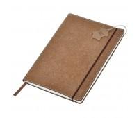 """Бизнес-блокнот А5  """"Indi"""" в клетку , 160 стр, коричневый, рециклированная кожа Цвет: Коричневый"""