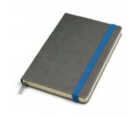 """Бизнес-блокнот """"Fancy"""", 135х210 мм, серый/синий, твердая обложка,  резинка 10 мм, блок-линейка Цвет: Серый"""