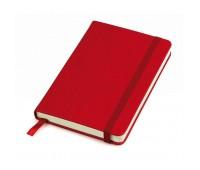 """Бизнес-блокнот """"Casual"""", 130*210 мм, красный, твердая обложка,  резинка 7 мм, блок-линейка, тиснение Цвет: Красный"""
