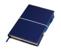 "Бизнес-блокнот ""BUSINESS"", 140*220 мм, синий,  обложка портфолио,  блок-линейка, тиснение Цвет: Темно-синий"