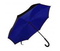 """Зонт-трость """"наоборот"""" ORIGINAL, пластиковая ручка, механический Цвет: Темно-синий"""
