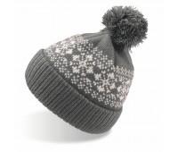 """Шапка вязаная с снежинками и помпоном """"FLAKE""""_темно-серый,100% акрил  Цвет: Серый"""