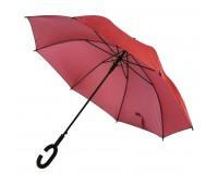 Зонт-трость HALRUM, пластиковая ручка, полуавтомат Цвет: Красный