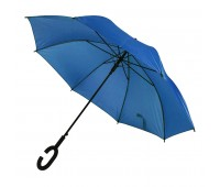 Зонт-трость HALRUM, пластиковая ручка, полуавтомат Цвет: Синий