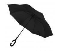 Зонт-трость HALRUM, пластиковая ручка, полуавтомат Цвет: Черный