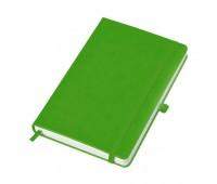"""Бизнес-блокнот """"Justy"""", 130*210 мм, лаймовый, твердая обложка,  резинка 7 мм, блок-линейка Цвет: Зеленый"""